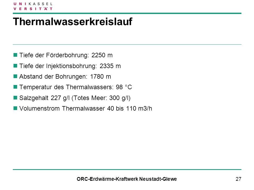 27 Thermalwasserkreislauf Tiefe der Förderbohrung: 2250 m Tiefe der Injektionsbohrung: 2335 m Abstand der Bohrungen: 1780 m Temperatur des Thermalwass