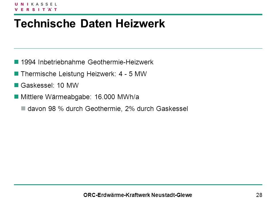 28 1994 Inbetriebnahme Geothermie-Heizwerk Thermische Leistung Heizwerk: 4 - 5 MW Gaskessel: 10 MW Mittlere Wärmeabgabe: 16.000 MWh/a davon 98 % durch