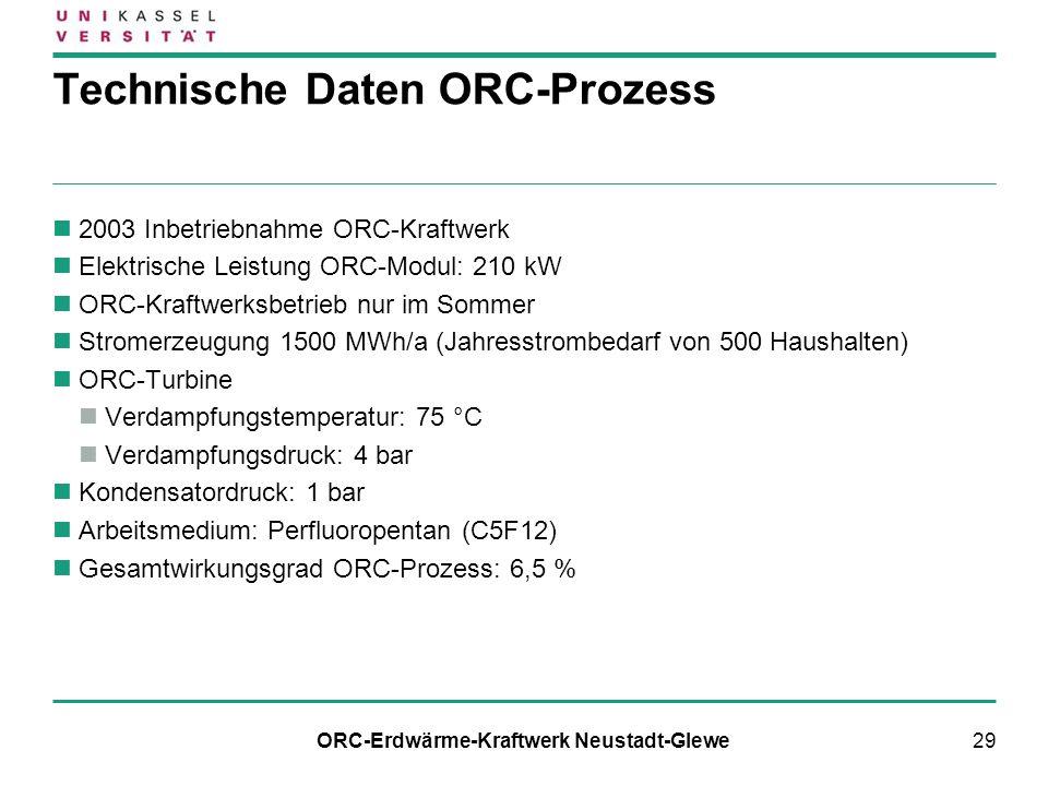 29 Technische Daten ORC-Prozess 2003 Inbetriebnahme ORC-Kraftwerk Elektrische Leistung ORC-Modul: 210 kW ORC-Kraftwerksbetrieb nur im Sommer Stromerze