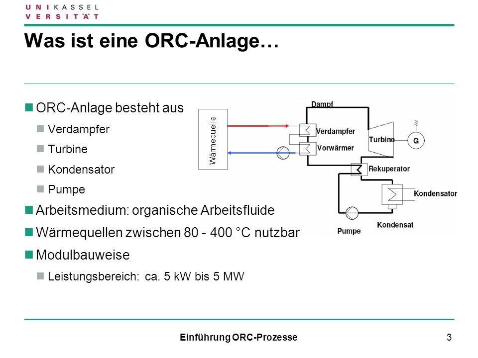 14 Zustandsänderungen des ORC-Prozesses im T-s-Diagramm 1 2Polytrope Druckerhöhung des Arbeitsmittels 2 3Isobare Vorwärmung durch Rekuperator 3 4Isobare Erwärmung und Verdampfung bis zum Sattdampf 4 5Polytrope Entspannung des Dampfes 5 6Isobare Wärmeabfuhr im Rekuperator 6 1Vollständig isobare Kondensation bis zum Siedebeginn Quelle: Hunstock, B; Diplomarbeit, Ruhr-Universität Bochum, 2009 Prozessverlauf