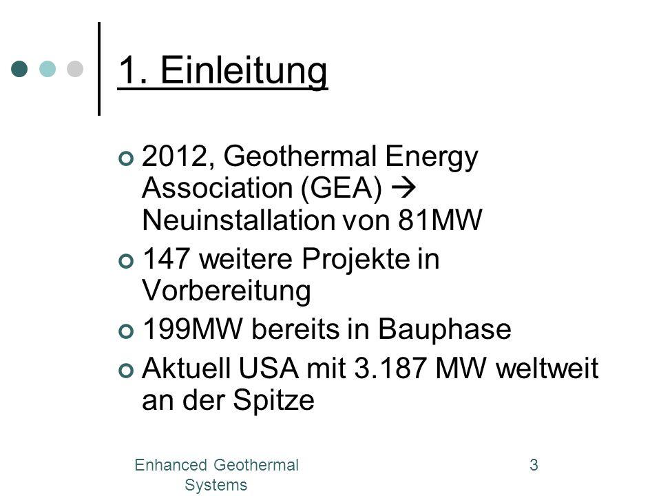 Enhanced Geothermal Systems 3 1. Einleitung 2012, Geothermal Energy Association (GEA) Neuinstallation von 81MW 147 weitere Projekte in Vorbereitung 19