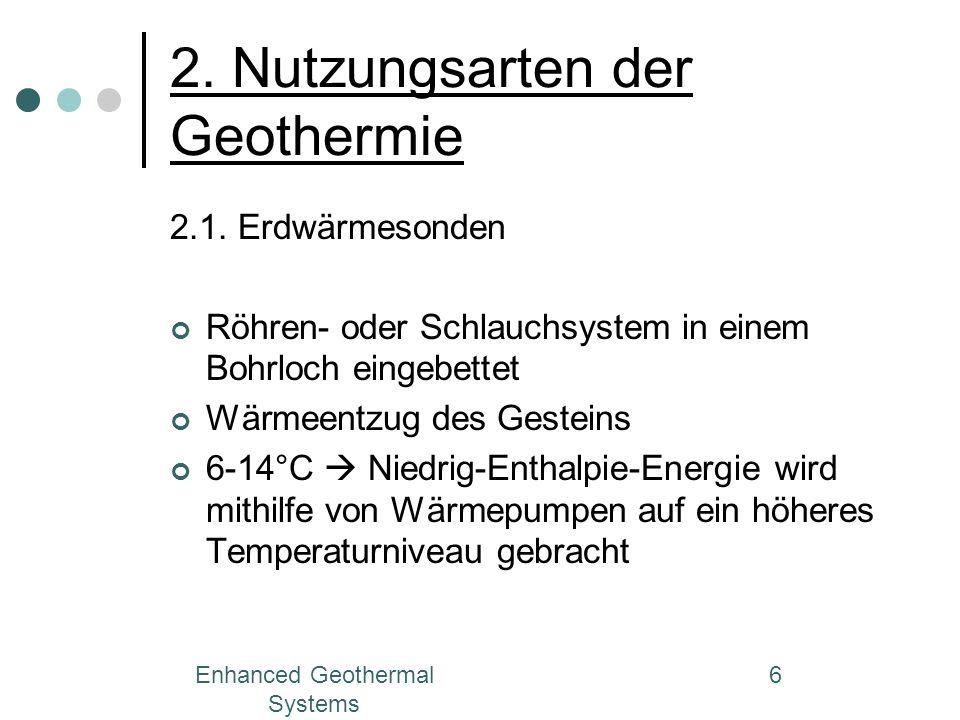 Enhanced Geothermal Systems 6 2. Nutzungsarten der Geothermie 2.1. Erdwärmesonden Röhren- oder Schlauchsystem in einem Bohrloch eingebettet Wärmeentzu