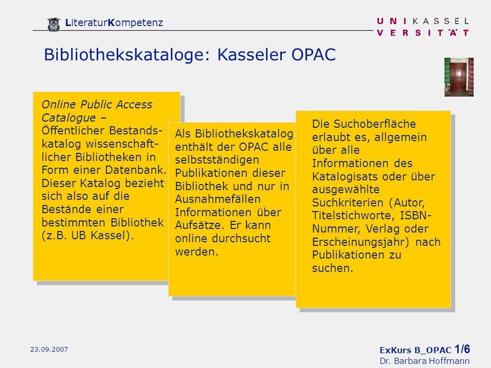 ExKurs B_OPAC 1/6 Dr.