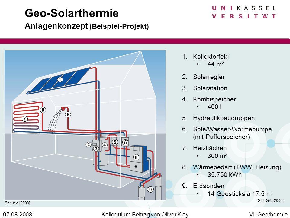 Kolloquium-Beitrag von Oliver KleyVL Geothermie07.08.2008 Geo-Solarthermie Anlagenkonzept (Beispiel-Projekt) 5 5 6 7 8 8 9 1.Kollektorfeld 44 m² 2.Sol