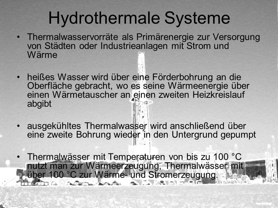 Hydrothermale Systeme Thermalwasservorräte als Primärenergie zur Versorgung von Städten oder Industrieanlagen mit Strom und Wärme heißes Wasser wird ü