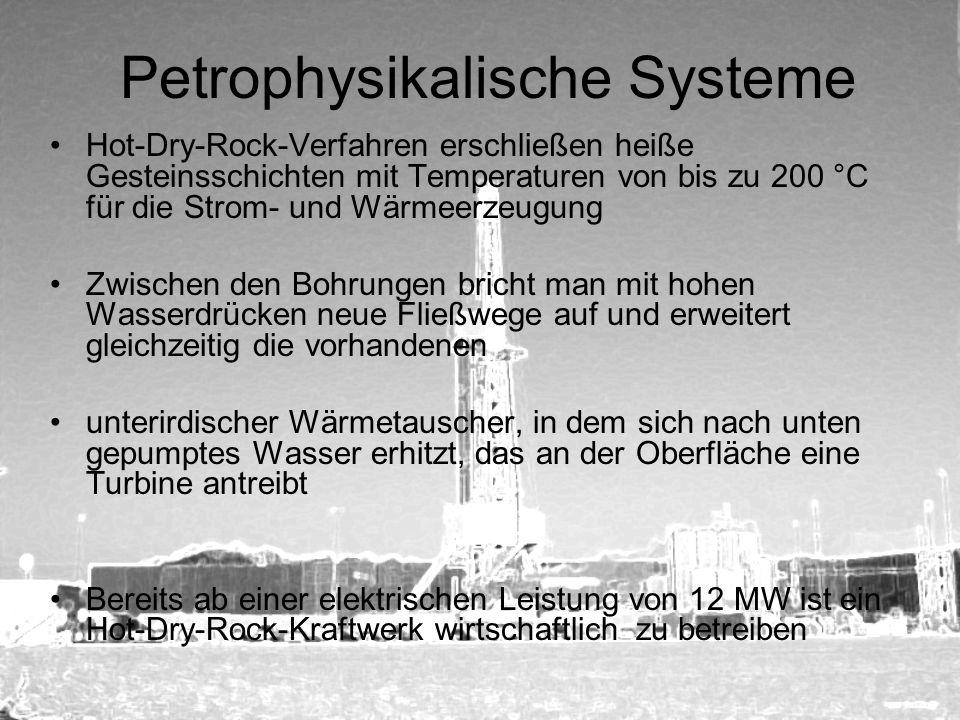 Petrophysikalische Systeme Hot-Dry-Rock-Verfahren erschließen heiße Gesteinsschichten mit Temperaturen von bis zu 200 °C für die Strom- und Wärmeerzeu