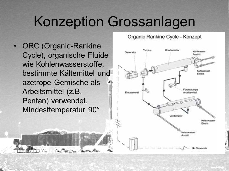 Konzeption Grossanlagen ORC (Organic-Rankine Cycle), organische Fluide wie Kohlenwasserstoffe, bestimmte Kältemittel und azetrope Gemische als Arbeits