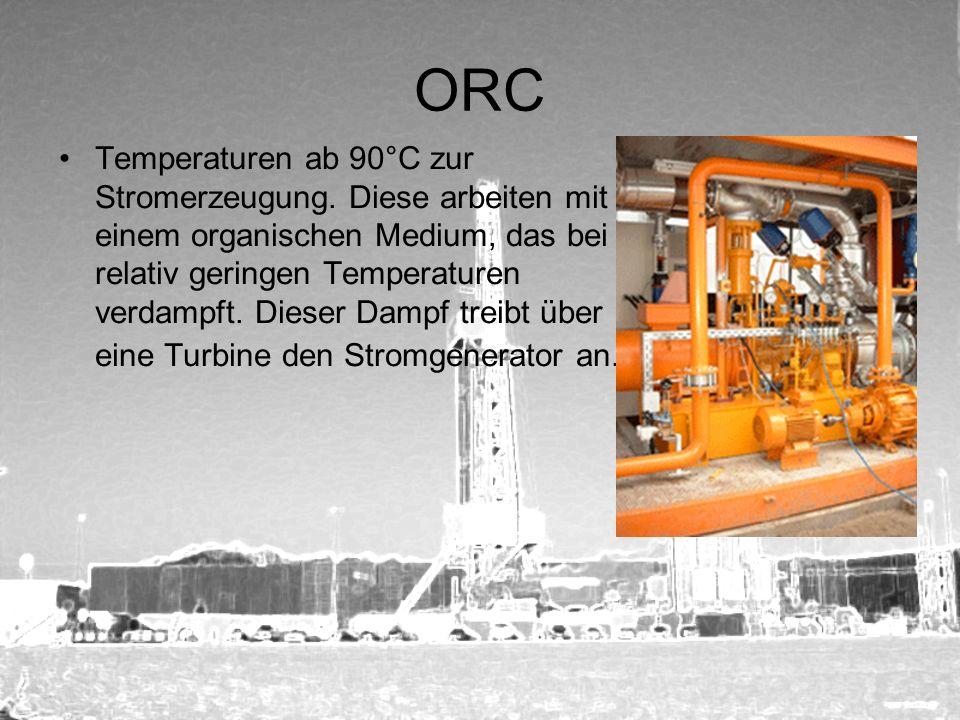 ORC Temperaturen ab 90°C zur Stromerzeugung. Diese arbeiten mit einem organischen Medium, das bei relativ geringen Temperaturen verdampft. Dieser Damp