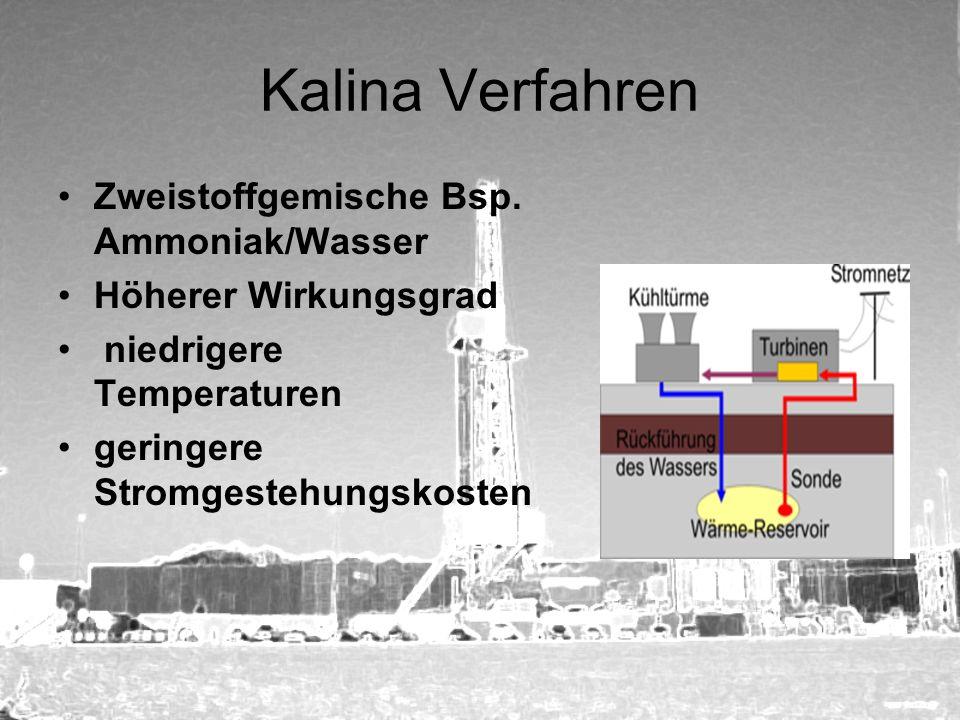 Kalina Verfahren Zweistoffgemische Bsp. Ammoniak/Wasser Höherer Wirkungsgrad niedrigere Temperaturen geringere Stromgestehungskosten