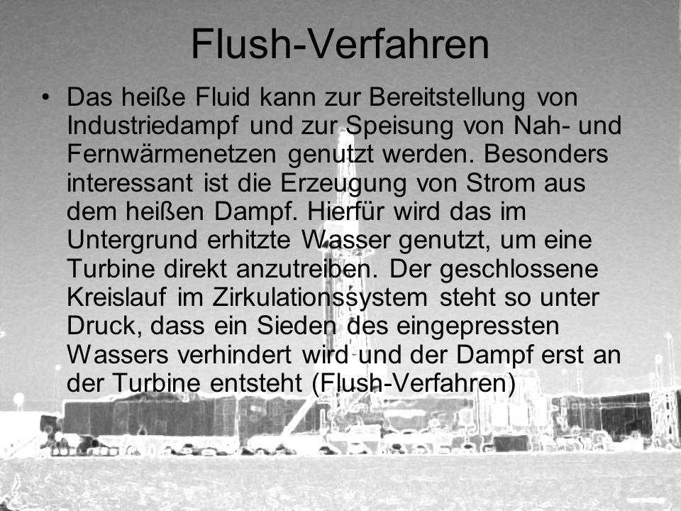 Flush-Verfahren Das heiße Fluid kann zur Bereitstellung von Industriedampf und zur Speisung von Nah- und Fernwärmenetzen genutzt werden. Besonders int