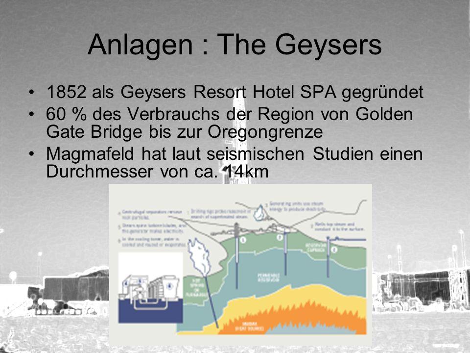 Anlagen : The Geysers 1852 als Geysers Resort Hotel SPA gegründet 60 % des Verbrauchs der Region von Golden Gate Bridge bis zur Oregongrenze Magmafeld