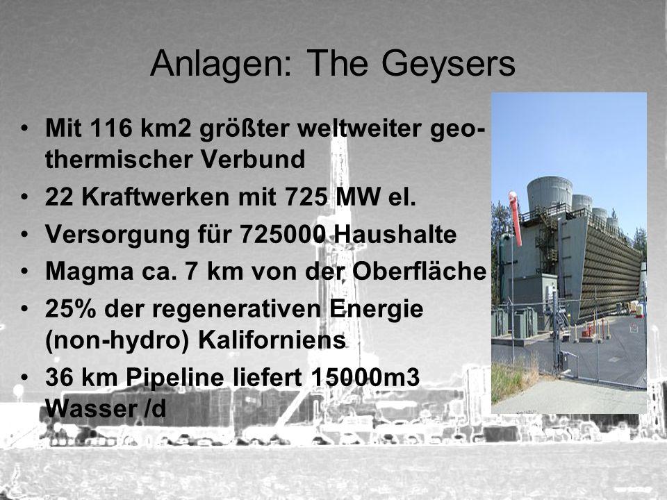 Anlagen: The Geysers Mit 116 km2 größter weltweiter geo- thermischer Verbund 22 Kraftwerken mit 725 MW el. Versorgung für 725000 Haushalte Magma ca. 7