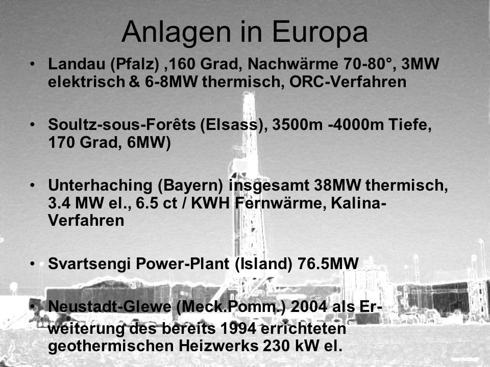 Anlagen in Europa Landau (Pfalz),160 Grad, Nachwärme 70-80°, 3MW elektrisch & 6-8MW thermisch, ORC-Verfahren Soultz-sous-Forêts (Elsass), 3500m -4000m