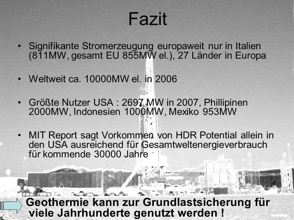 Fazit Signifikante Stromerzeugung europaweit nur in Italien (811MW, gesamt EU 855MW el.), 27 Länder in Europa Weltweit ca. 10000MW el. in 2006 Größte