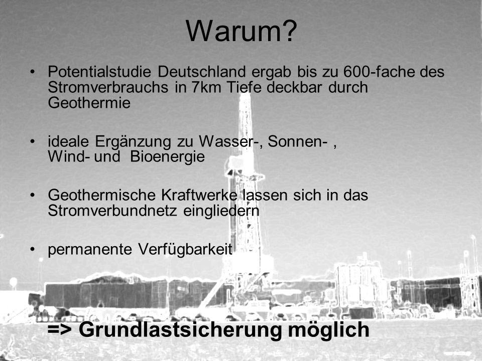Warum? Potentialstudie Deutschland ergab bis zu 600-fache des Stromverbrauchs in 7km Tiefe deckbar durch Geothermie ideale Ergänzung zu Wasser-, Sonne