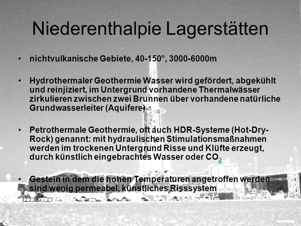 Niederenthalpie Lagerstätten nichtvulkanische Gebiete, 40-150°, 3000-6000m Hydrothermaler Geothermie Wasser wird gefördert, abgekühlt und reinjiziert,