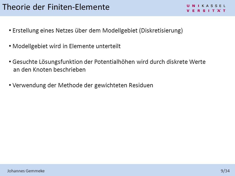 Johannes Gemmeke 9/34 Theorie der Finiten-Elemente Erstellung eines Netzes über dem Modellgebiet (Diskretisierung) Modellgebiet wird in Elemente unter