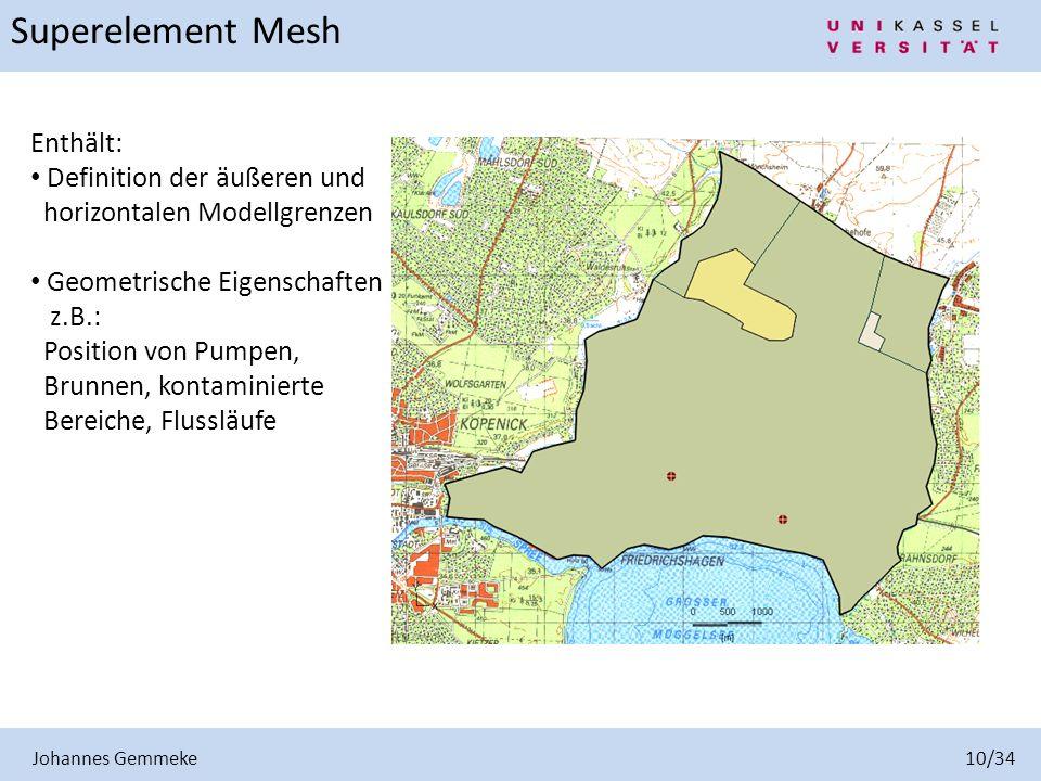Johannes Gemmeke 10/34 Superelement Mesh Enthält: Definition der äußeren und horizontalen Modellgrenzen Geometrische Eigenschaften z.B.: Position von