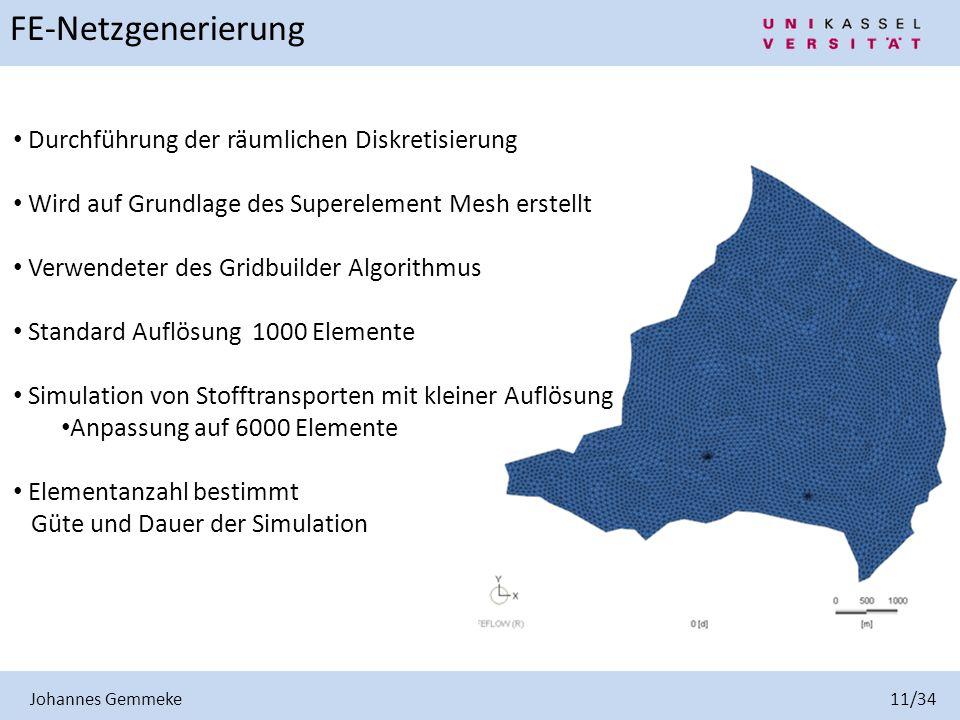 Johannes Gemmeke 11/34 FE-Netzgenerierung Durchführung der räumlichen Diskretisierung Wird auf Grundlage des Superelement Mesh erstellt Verwendeter de