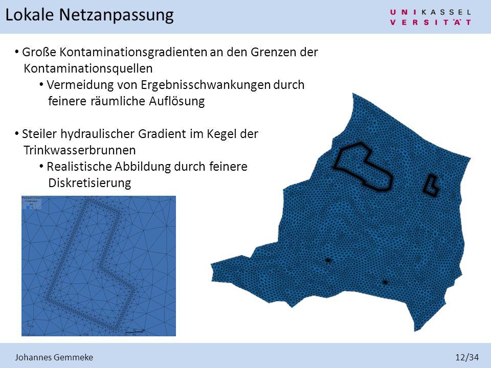 Johannes Gemmeke 12/34 Große Kontaminationsgradienten an den Grenzen der Kontaminationsquellen Vermeidung von Ergebnisschwankungen durch feinere räuml