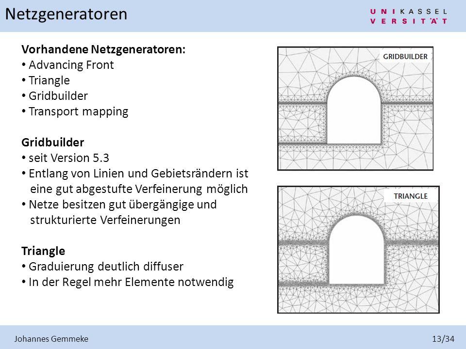 Johannes Gemmeke 13/34 Netzgeneratoren Vorhandene Netzgeneratoren: Advancing Front Triangle Gridbuilder Transport mapping Gridbuilder seit Version 5.3
