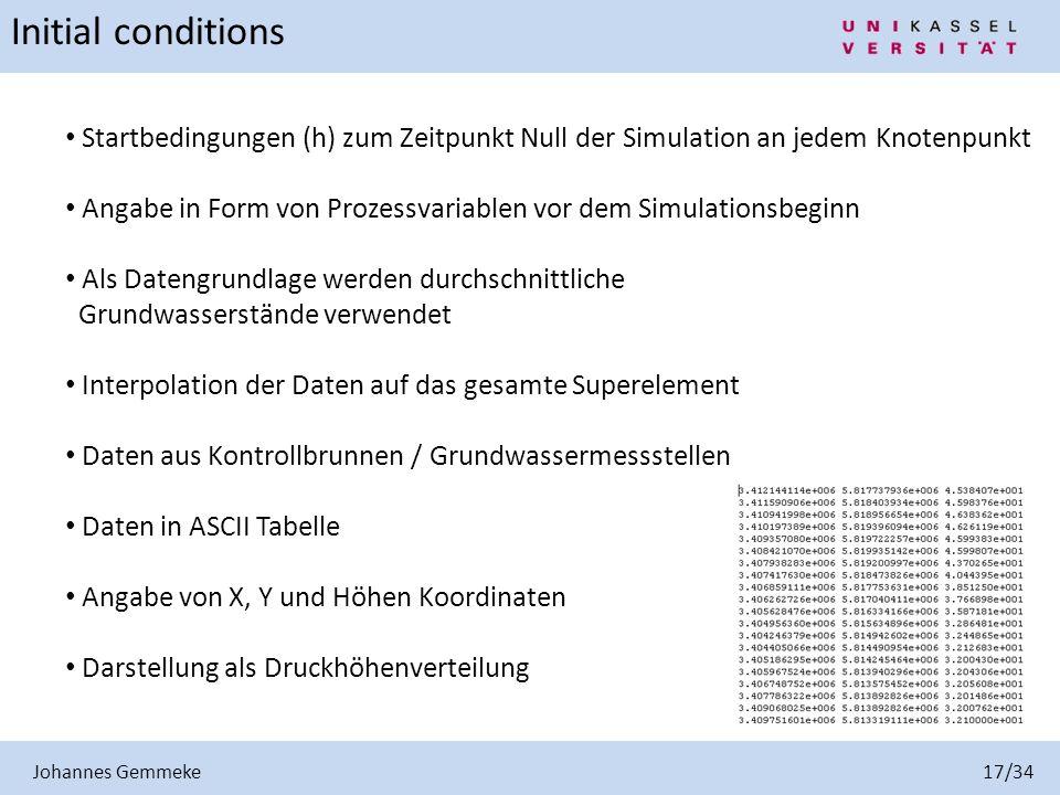 Johannes Gemmeke 17/34 Initial conditions Startbedingungen (h) zum Zeitpunkt Null der Simulation an jedem Knotenpunkt Angabe in Form von Prozessvariab