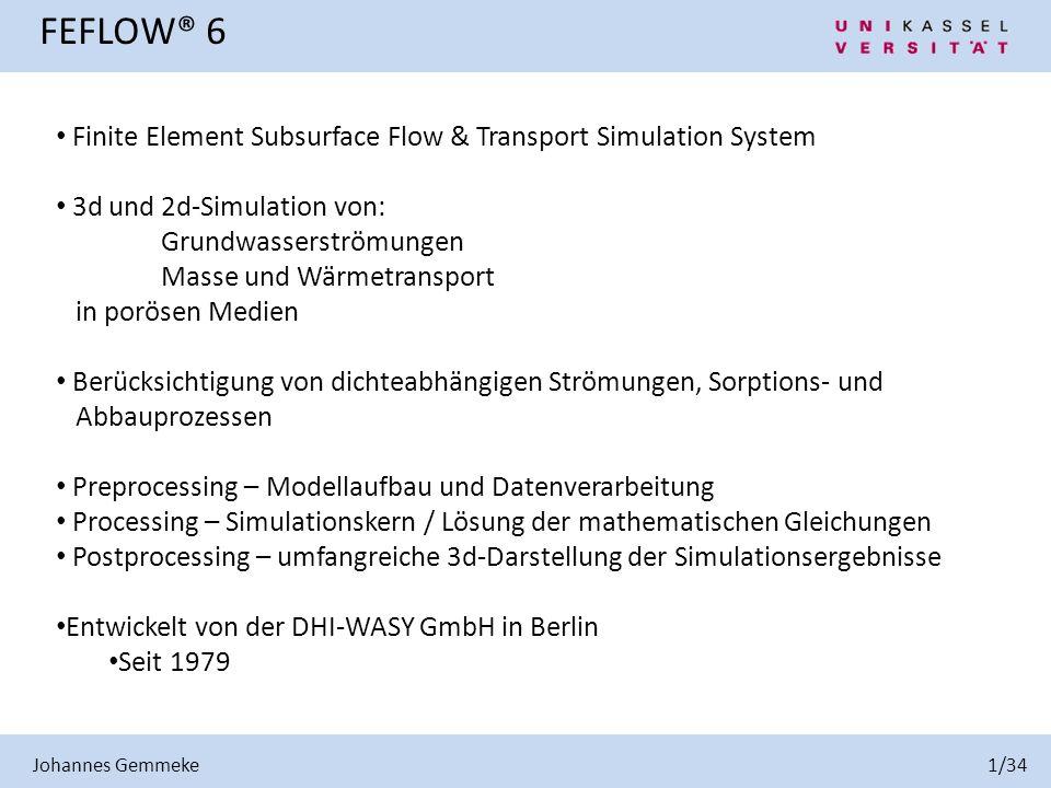 Finite Element Subsurface Flow & Transport Simulation System 3d und 2d-Simulation von: Grundwasserströmungen Masse und Wärmetransport in porösen Medie