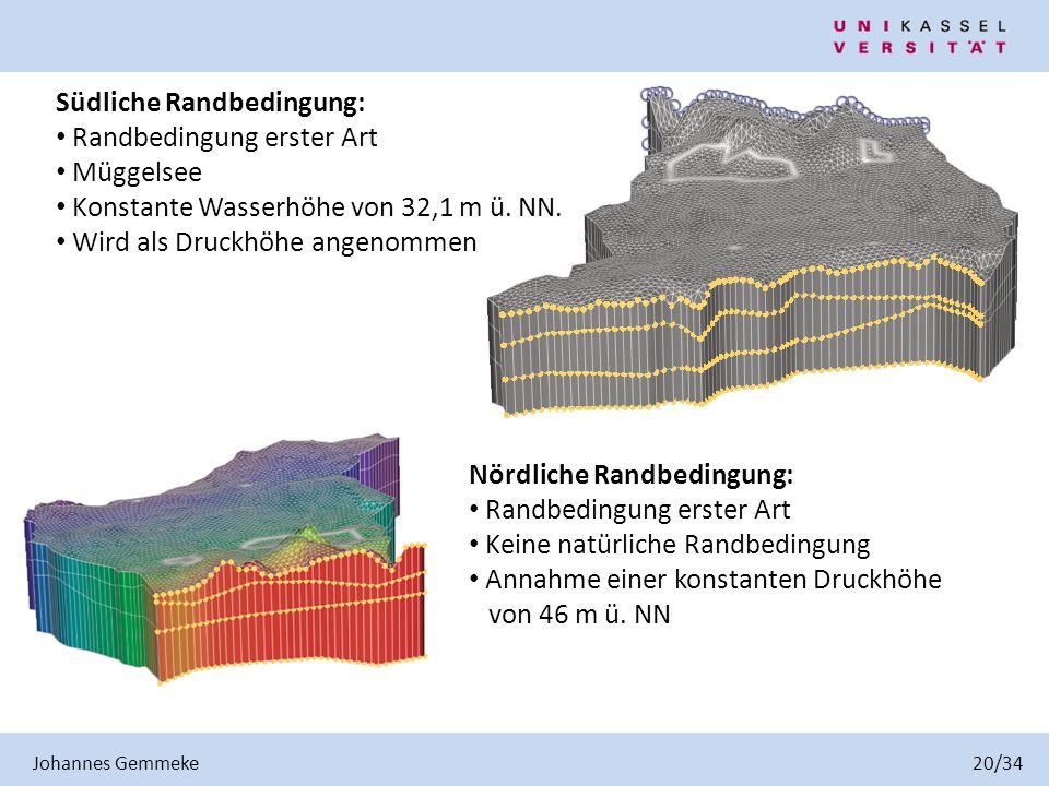 Südliche Randbedingung: Randbedingung erster Art Müggelsee Konstante Wasserhöhe von 32,1 m ü. NN. Wird als Druckhöhe angenommen Nördliche Randbedingun