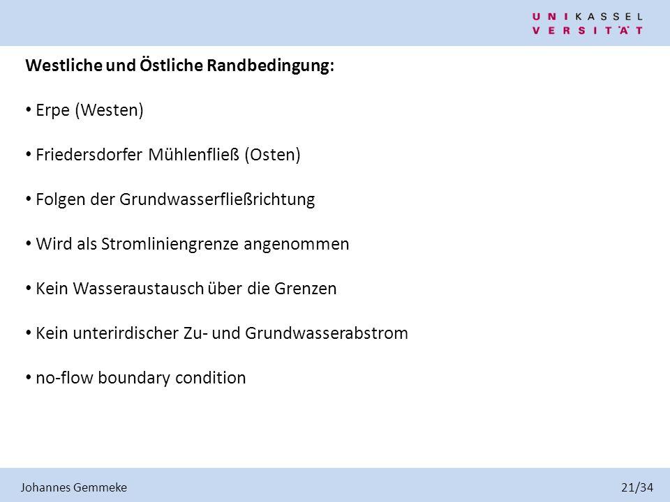 Westliche und Östliche Randbedingung: Erpe (Westen) Friedersdorfer Mühlenfließ (Osten) Folgen der Grundwasserfließrichtung Wird als Stromliniengrenze