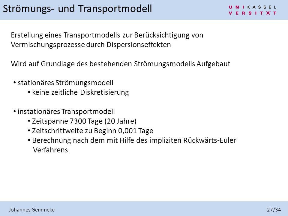 Johannes Gemmeke 27/34 Erstellung eines Transportmodells zur Berücksichtigung von Vermischungsprozesse durch Dispersionseffekten Wird auf Grundlage de