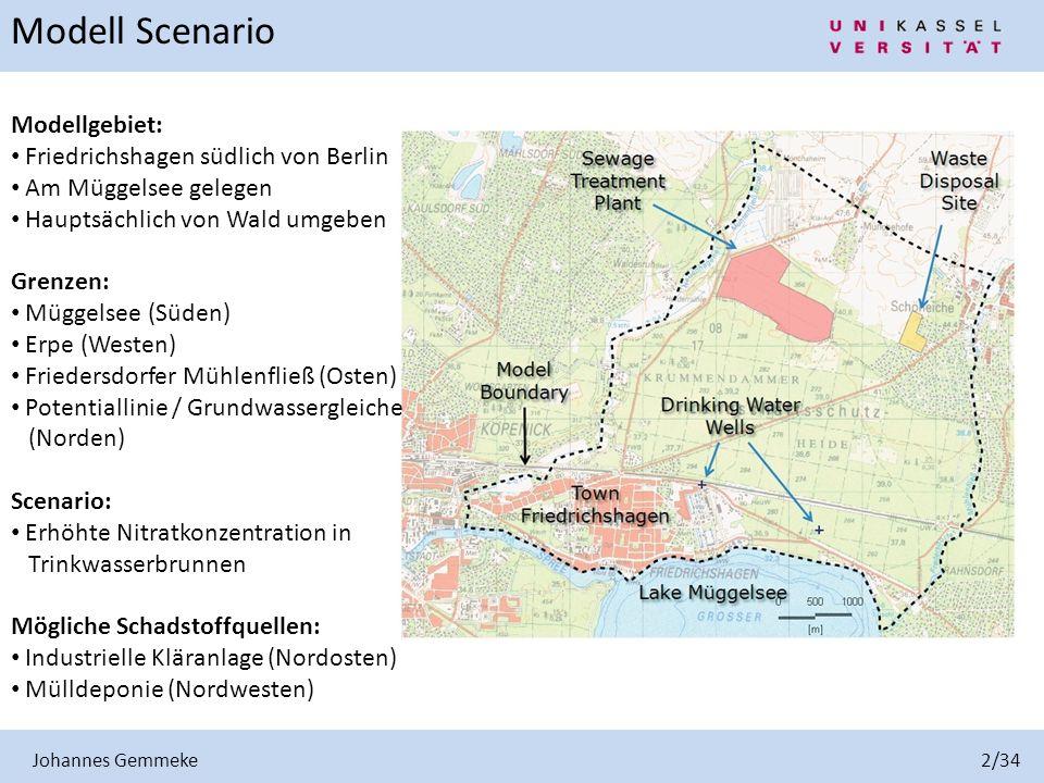 Modellgebiet: Friedrichshagen südlich von Berlin Am Müggelsee gelegen Hauptsächlich von Wald umgeben Grenzen: Müggelsee (Süden) Erpe (Westen) Frieders
