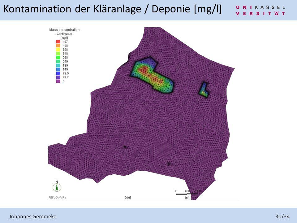 Johannes Gemmeke 30/34 Kontamination der Kläranlage / Deponie [mg/l]