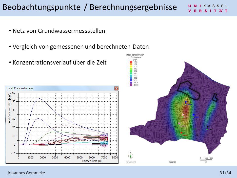 Johannes Gemmeke 31/34 Beobachtungspunkte / Berechnungsergebnisse Netz von Grundwassermessstellen Vergleich von gemessenen und berechneten Daten Konze