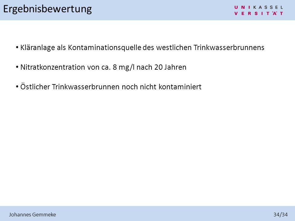 Johannes Gemmeke 34/34 Ergebnisbewertung Kläranlage als Kontaminationsquelle des westlichen Trinkwasserbrunnens Nitratkonzentration von ca. 8 mg/l nac