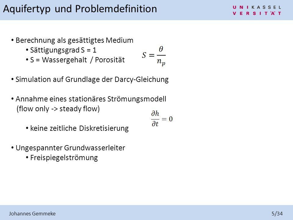 Johannes Gemmeke 6/34 Grundlage für die Beschreibung der Strömungsprozesse im Untergrund ist das empirische Gesetz von Darcy: Darcy-Geschwindigkeit oder Filtergeschwindigkeit Hydraulisches Gefälle Fließgesetz von Darcy für jede Raumrichtung Gesetz von Darcy k f = Durchlässigkeitsbeiwert Berücksichtigung in x-, y- und z-Richtung