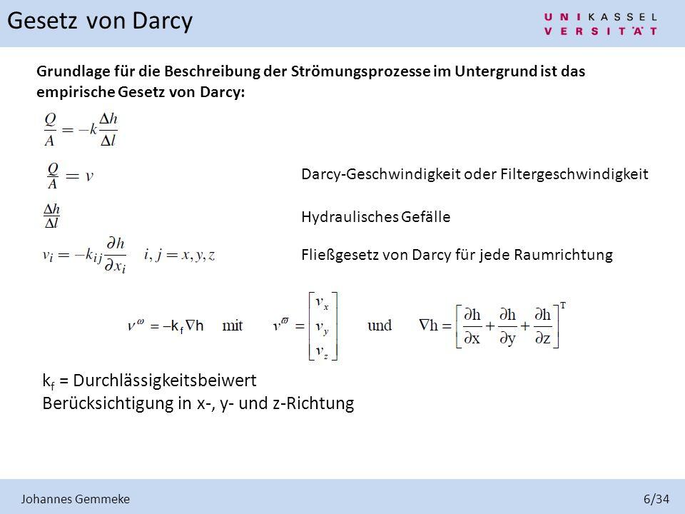 Johannes Gemmeke 6/34 Grundlage für die Beschreibung der Strömungsprozesse im Untergrund ist das empirische Gesetz von Darcy: Darcy-Geschwindigkeit od