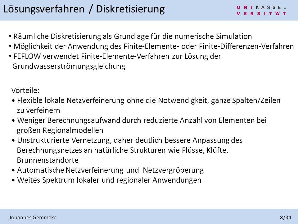 Johannes Gemmeke 8/34 Lösungsverfahren / Diskretisierung Räumliche Diskretisierung als Grundlage für die numerische Simulation Möglichkeit der Anwendu