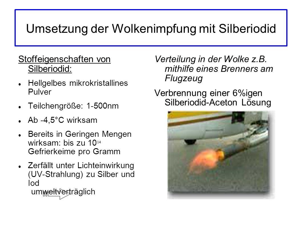 Umsetzung der Wolkenimpfung mit Silberiodid Stoffeigenschaften von Silberiodid: Hellgelbes mikrokristallines Pulver Teilchengröße: 1-500nm Ab -4,5°C w