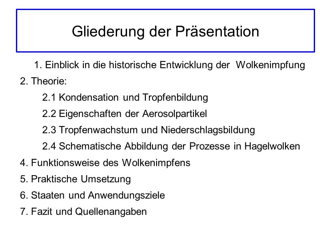 Gliederung der Präsentation 1. Einblick in die historische Entwicklung der Wolkenimpfung 2. Theorie: 2.1 Kondensation und Tropfenbildung 2.2 Eigenscha