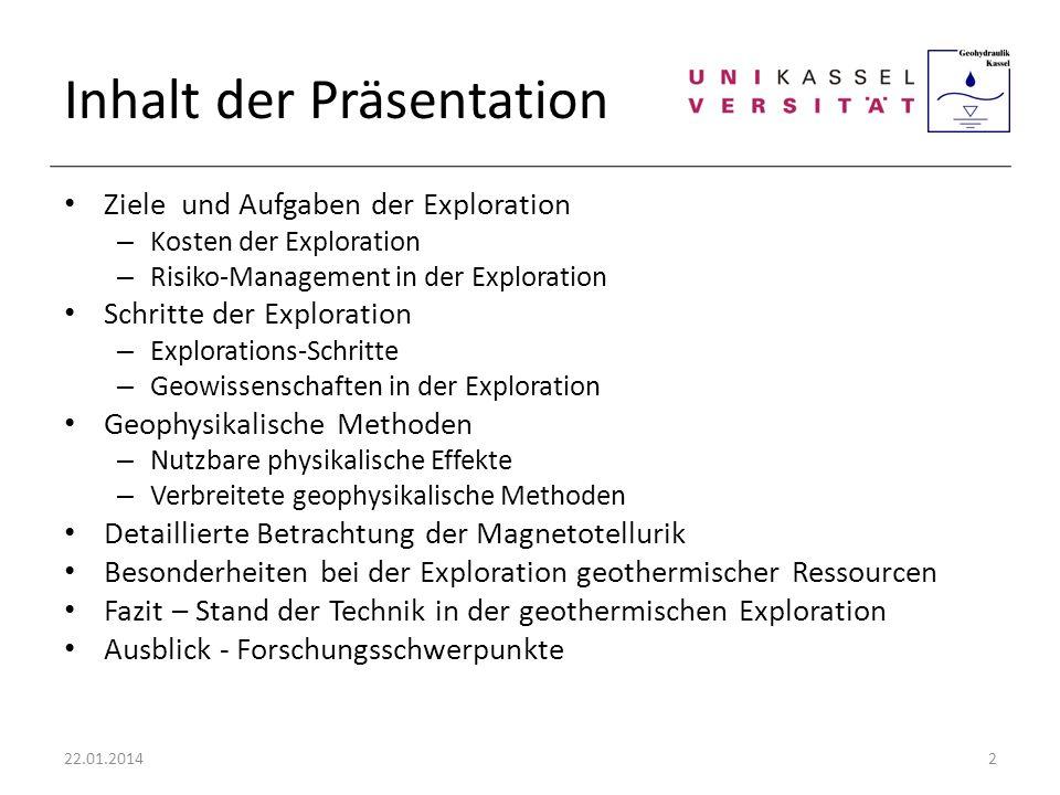 Inhalt der Präsentation Ziele und Aufgaben der Exploration – Kosten der Exploration – Risiko-Management in der Exploration Schritte der Exploration –