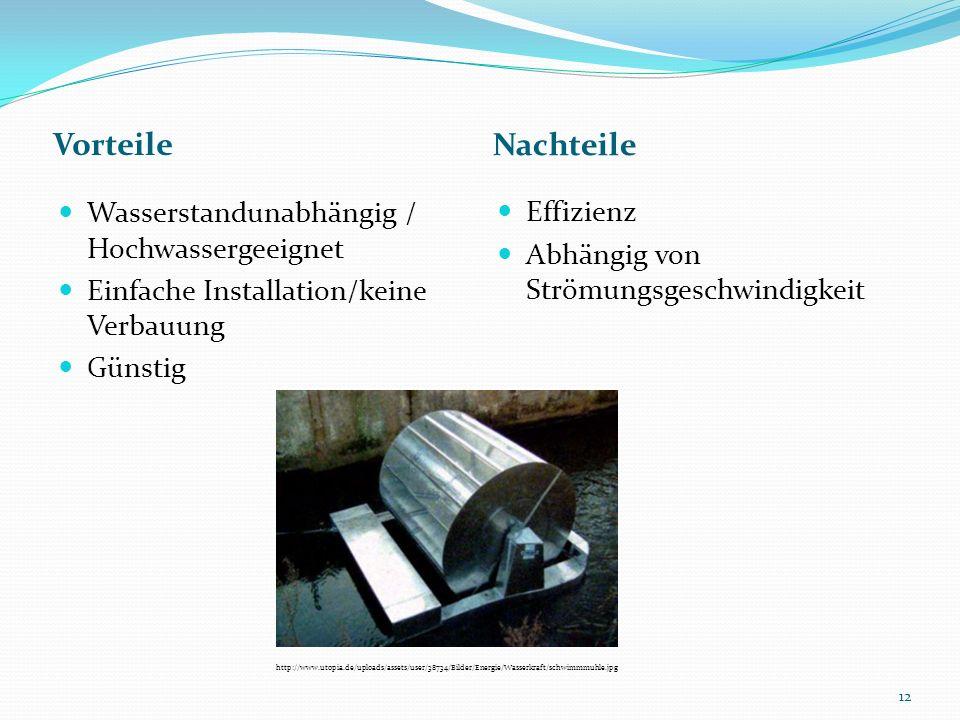 Vorteile Nachteile Wasserstandunabhängig / Hochwassergeeignet Einfache Installation/keine Verbauung Günstig Effizienz Abhängig von Strömungsgeschwindi