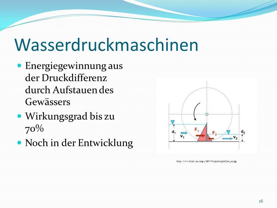 Wasserdruckmaschinen Energiegewinnung aus der Druckdifferenz durch Aufstauen des Gewässers Wirkungsgrad bis zu 70% Noch in der Entwicklung http://www.
