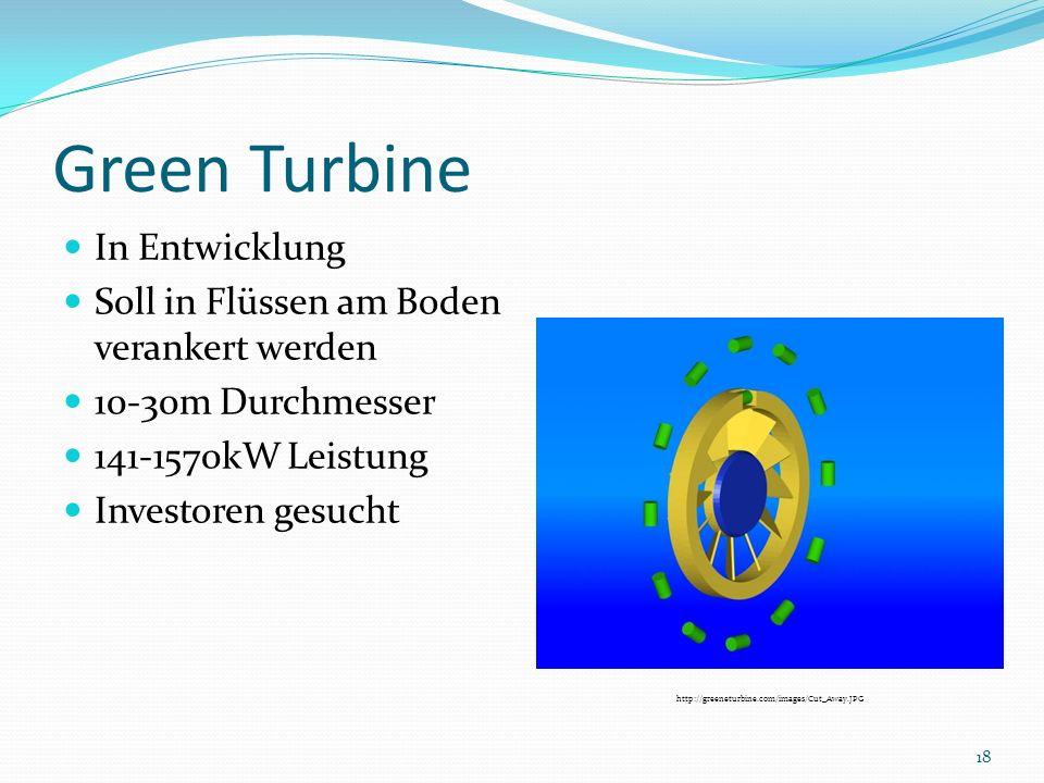 Green Turbine In Entwicklung Soll in Flüssen am Boden verankert werden 10-30m Durchmesser 141-1570kW Leistung Investoren gesucht http://greeneturbine.