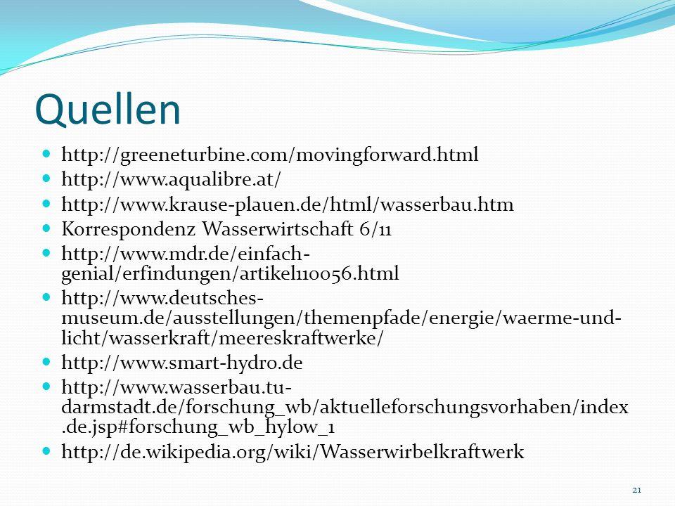 Quellen http://greeneturbine.com/movingforward.html http://www.aqualibre.at/ http://www.krause-plauen.de/html/wasserbau.htm Korrespondenz Wasserwirtsc