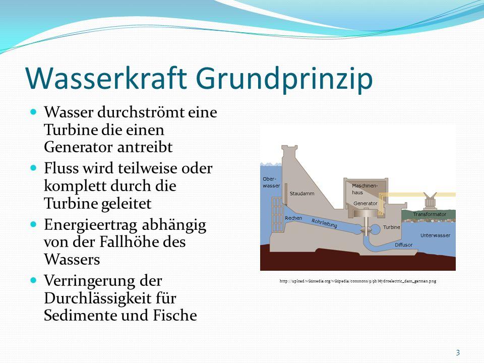 Wasserkraft Grundprinzip Wasser durchströmt eine Turbine die einen Generator antreibt Fluss wird teilweise oder komplett durch die Turbine geleitet En