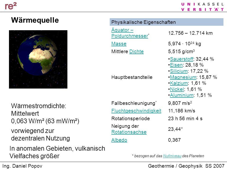 Geothermie / Geophysik SS 2007Ing. Daniel Popov Physikalische Eigenschaften Äquator – Poldurchmesser Äquator – Poldurchmesser * 12.756 – 12.714 km Mas