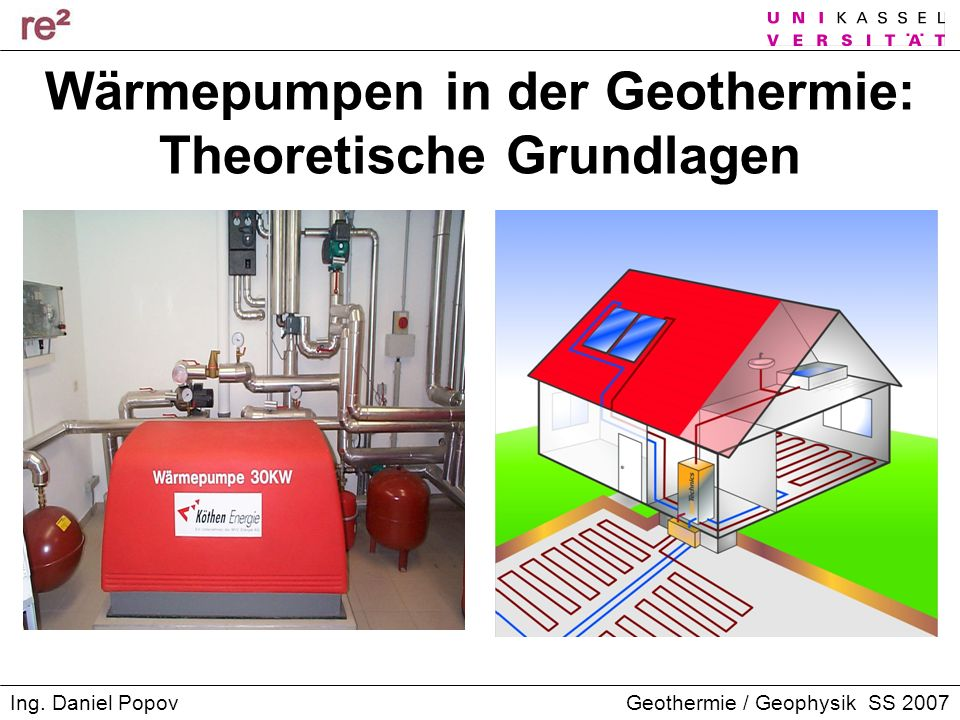 Geothermie / Geophysik SS 2007Ing. Daniel Popov Wärmepumpen in der Geothermie: Theoretische Grundlagen