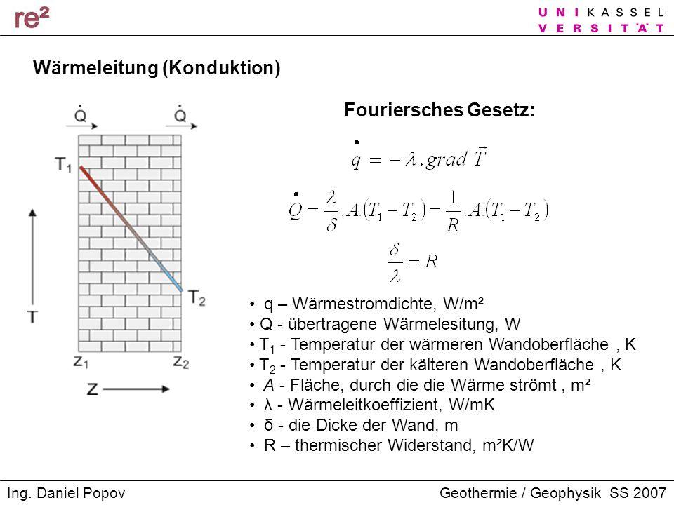 Geothermie / Geophysik SS 2007Ing. Daniel Popov Wärmeleitung (Konduktion) Fouriersches Gesetz: q – Wärmestromdichte, W/m² Q - übertragene Wärmelesitun