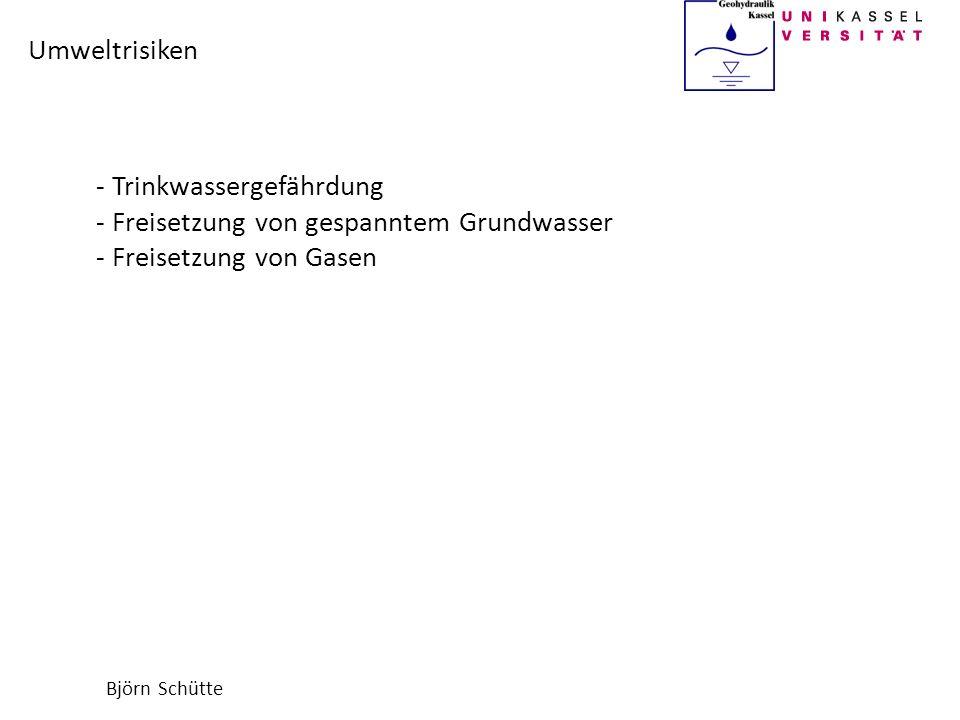 Björn Schütte Umweltrisiken - Trinkwassergefährdung - Freisetzung von gespanntem Grundwasser - Freisetzung von Gasen