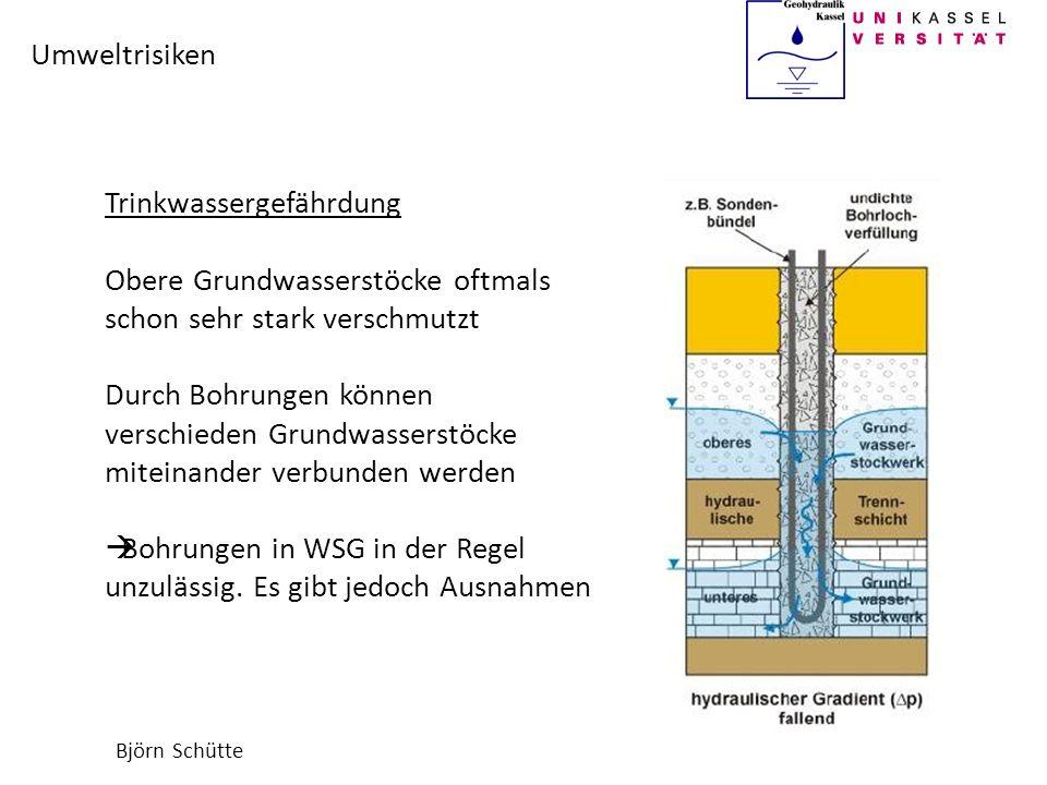 Björn Schütte Umweltrisiken Trinkwassergefährdung Obere Grundwasserstöcke oftmals schon sehr stark verschmutzt Durch Bohrungen können verschieden Grun